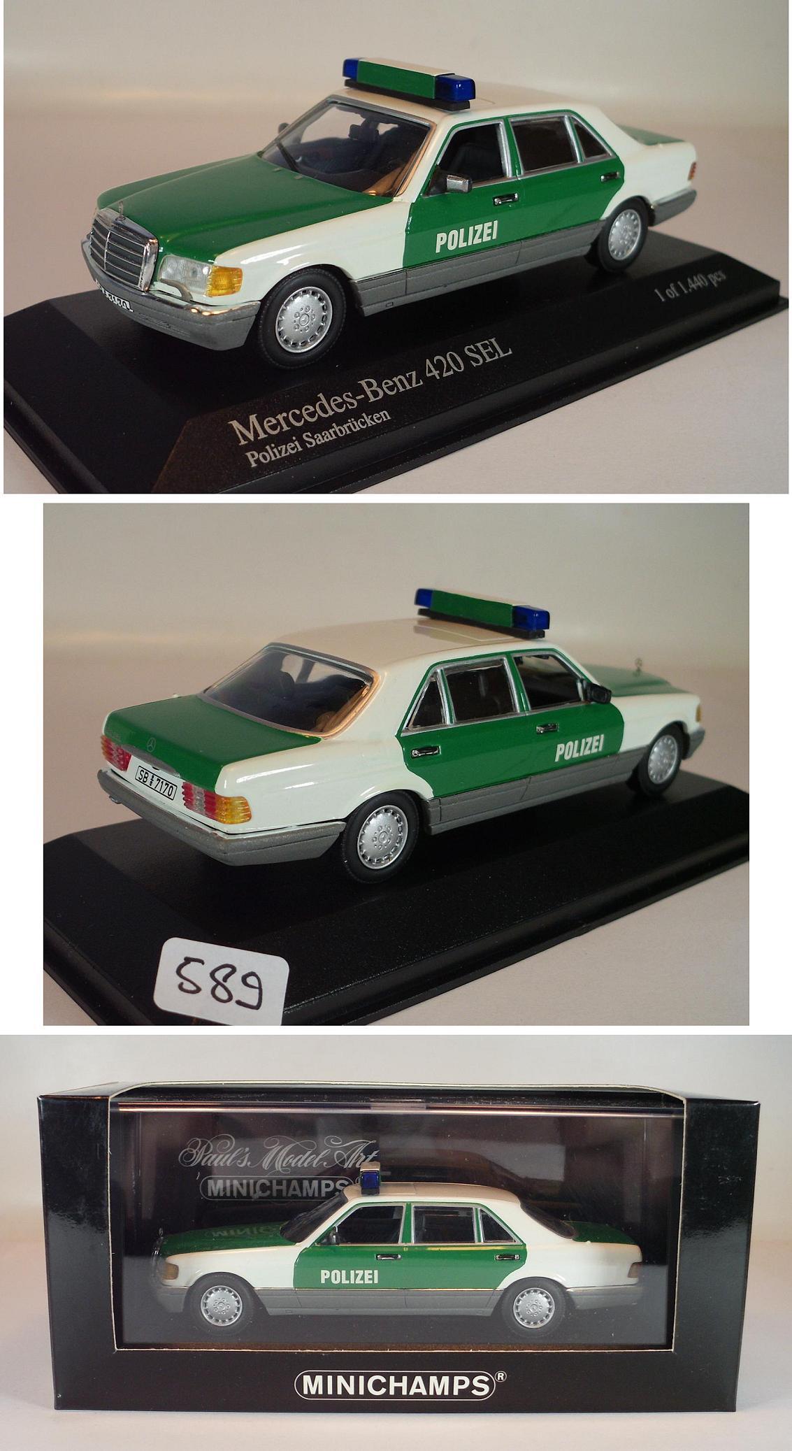 minichamps 1 43 mercedes benz 420 sel 1991 polizei saarbr cken ovp 589 ebay. Black Bedroom Furniture Sets. Home Design Ideas
