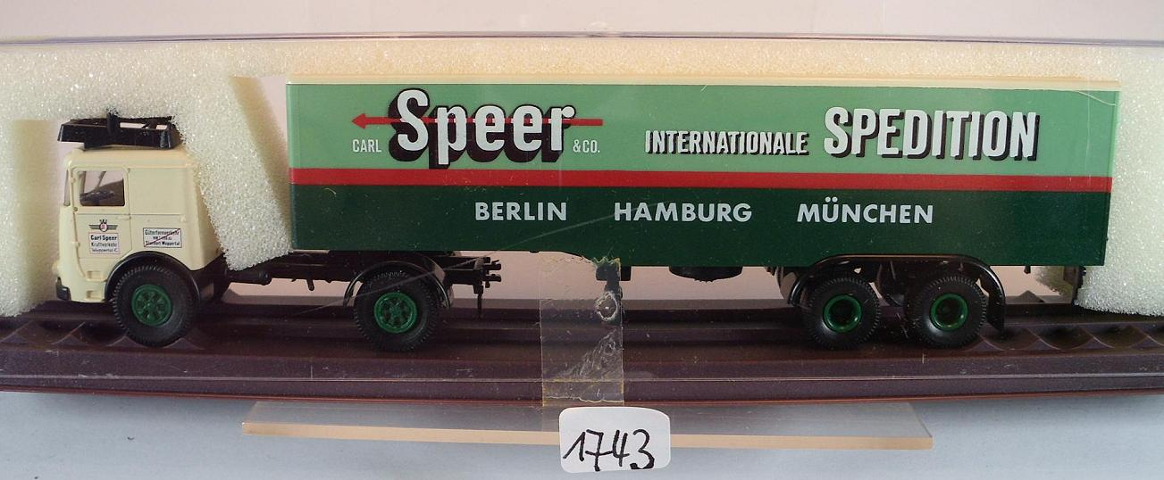 Spedition OVP #1757 Brekina 1//87 7919 Büssing LS 11 Sattelzug Speer Intern