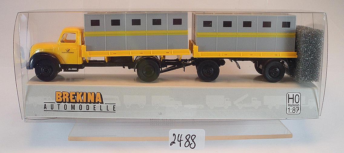 1:87 #42241 Brekina Magirus Mercur Weber-Behälter-Lastzug Deutsche Bundespost